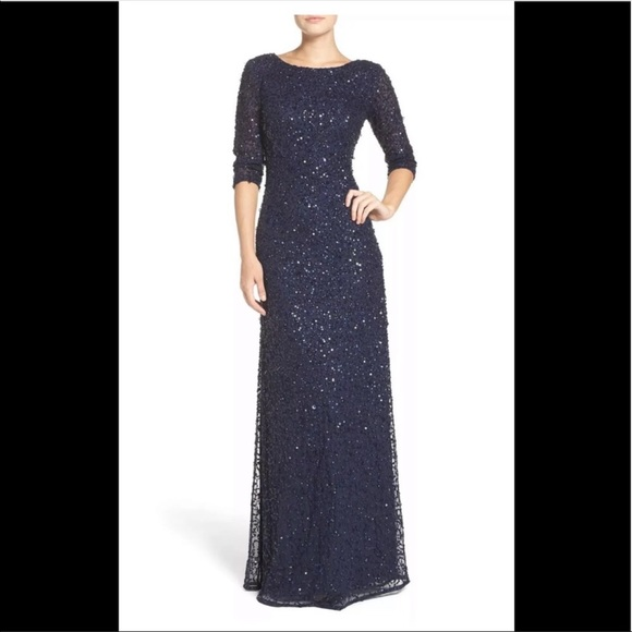21b094b56f2 Adrianna Papell navy beaded 3 4 sleeve formal gown